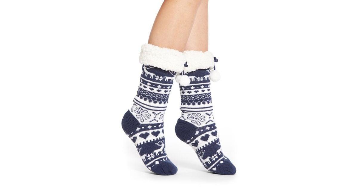 Lyst - Make + model Fair Isle Slipper Socks in Blue