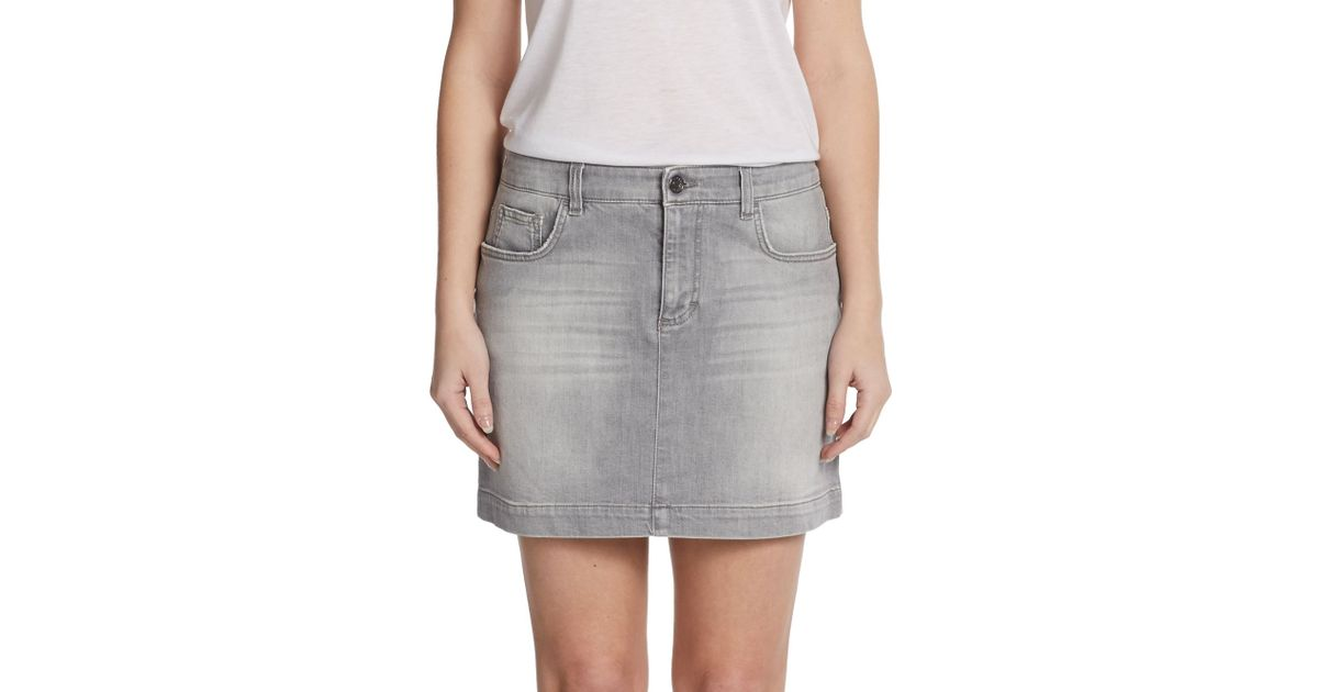 eaa4becf3 Dolce & Gabbana Gray Denim Mini Skirt in Gray - Lyst