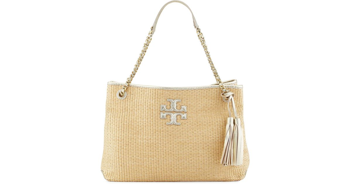 75a25c8f6f6 Lyst - Tory Burch Thea Straw Slouchy Tote Bag in Natural