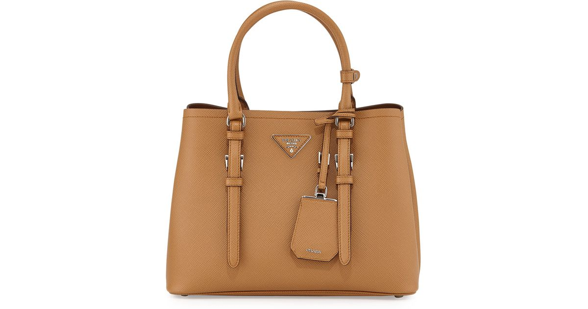 84652cbc8f ... ireland prada saffiano cuir covered strap double bag in brown lyst  585da 3af03