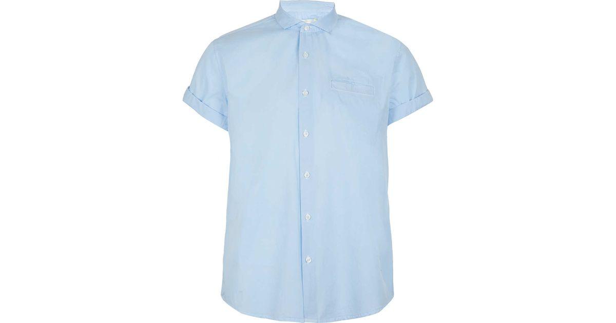 Topman Light Blue Button Down Short Sleeve Smart Shirt In