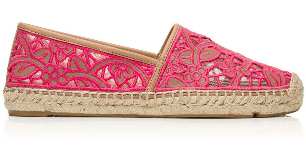 cef7056b8a49 Lyst - Tory Burch Lucia Lace Espadrille in Pink