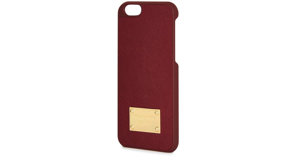 2f83dc2a4456 Michael Kors Burgundy Leather And Acetate Iphone 6 Case in Purple - Lyst