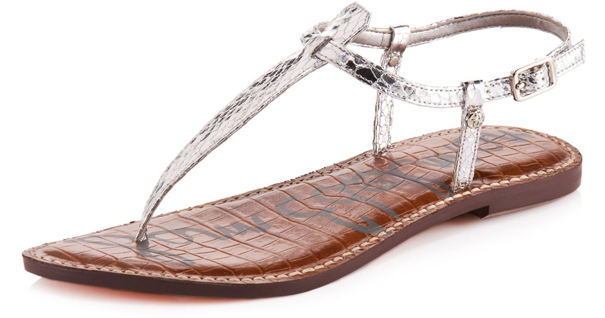b4e001fb69bbcb Lyst - Sam Edelman Gigi Snake-Embossed Thong Sandal