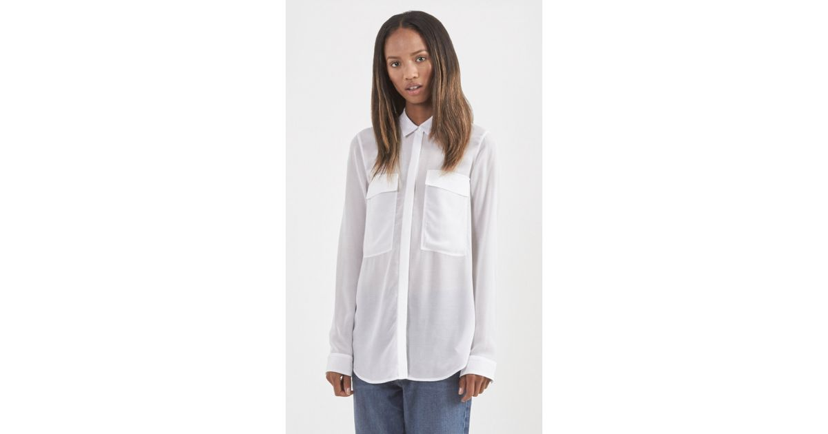Lyst Helmut Lang Button Up Sheer Shirt In White