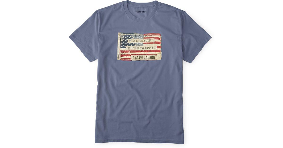 bf061bb10f Lyst - Denim   Supply Ralph Lauren Flag Patch Cotton Tee in Blue for Men