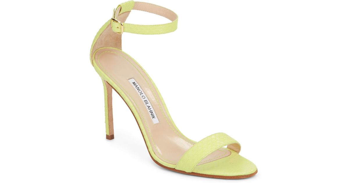 635d95df8e77 Lyst - Manolo Blahnik Chaos Snakeskin Sandals in Yellow