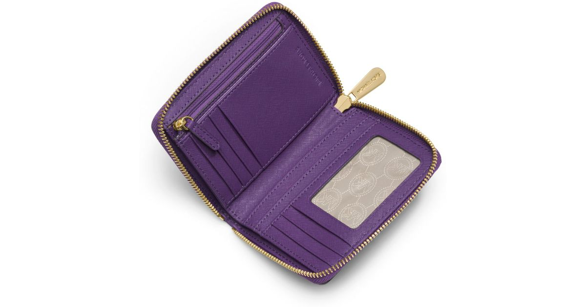 620691ba97ce Michael Kors Jet Set Travel Medium Saffiano Leather Continental Wallet in  Purple - Lyst