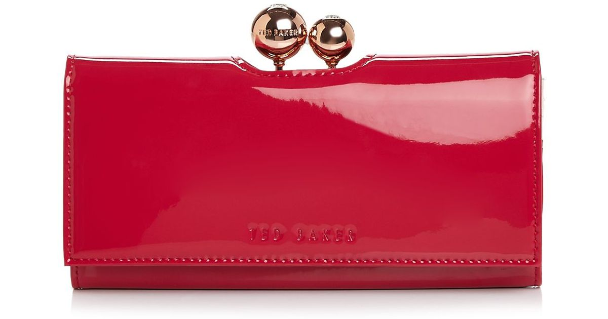 4857487a65424 Lyst - Ted Baker Odd Bobble Patent Continental Wallet in Red