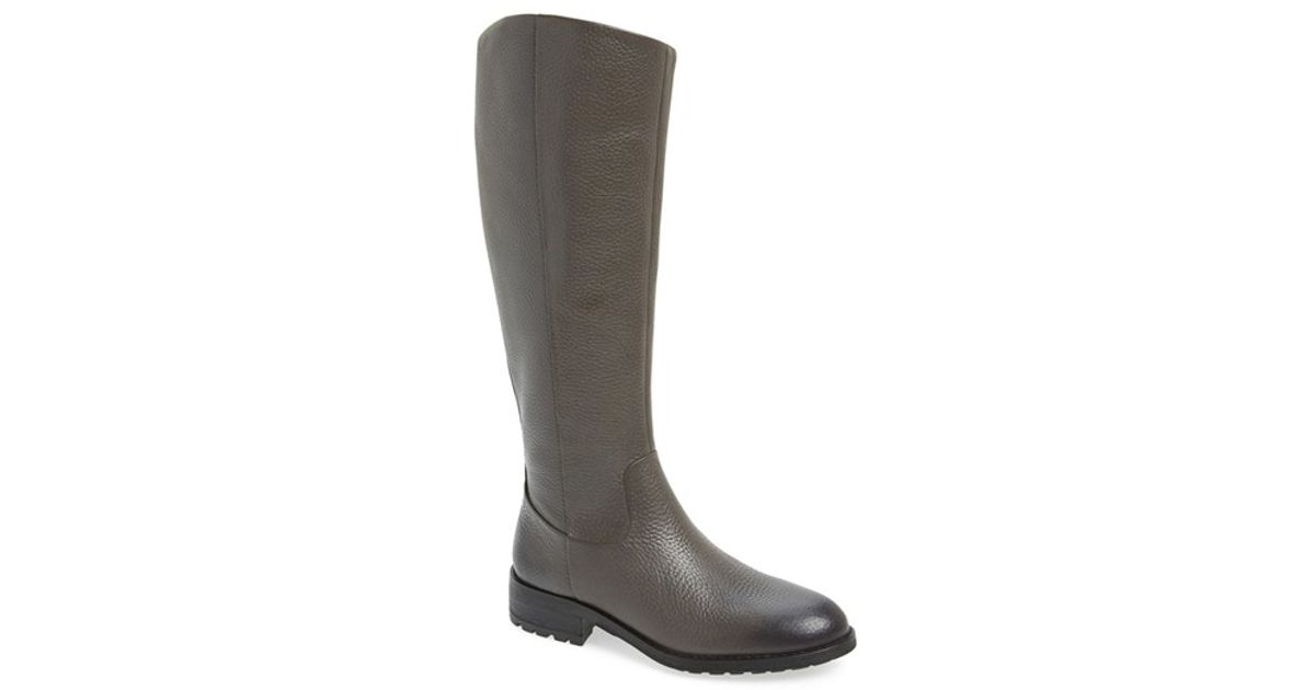 f272027035ba Lyst - Sam Edelman Ryan Pebbled-Leather Riding Boots in Gray