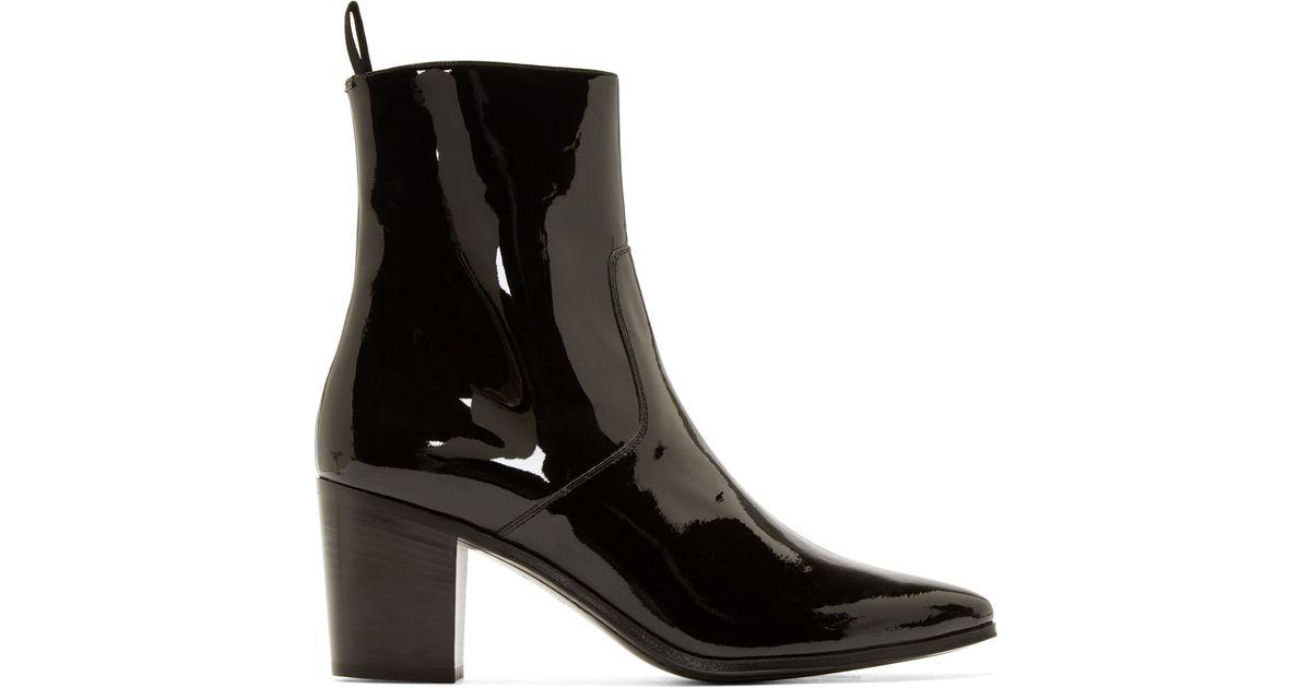 Saint Laurent Patent Leather Ankle Boots kYTvGxDyU