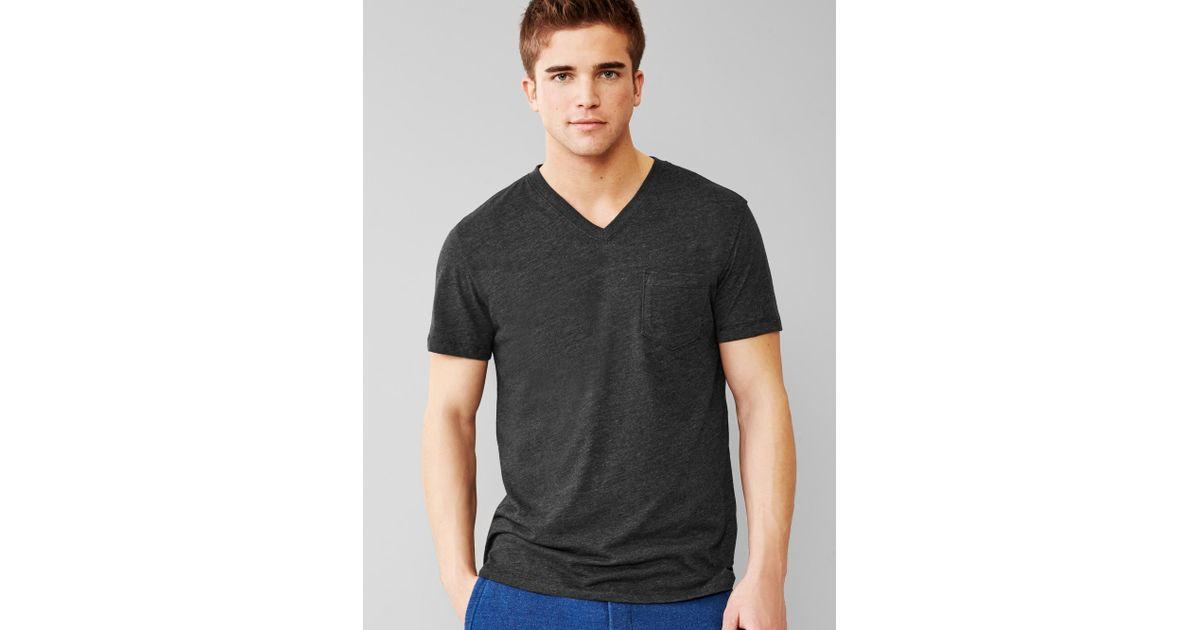 Gap tri blend v neck pocket t shirt in black for men for Men s v neck pocket tee shirts