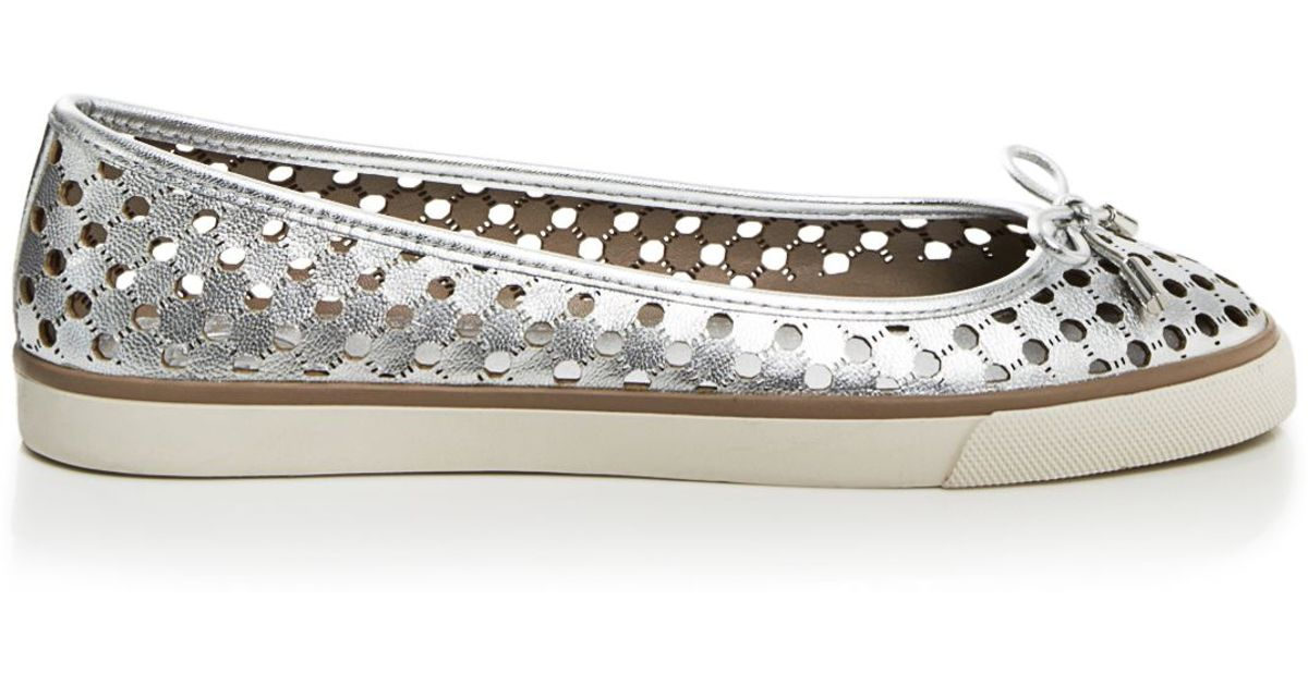 50b000a7ba14 Lyst - Tory Burch Flat Slip On Sneakers - Skyler Perforated in Metallic