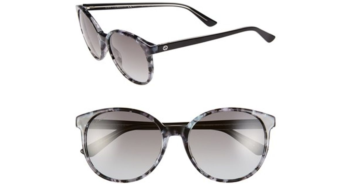 500f524697c48 Lyst - Gucci 55mm Retro Sunglasses - Havana  Azure  Black in Gray