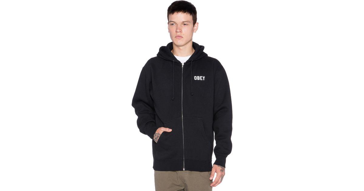 Obey Collegiate Reflective 2 Zip Hoodie In Black For Men