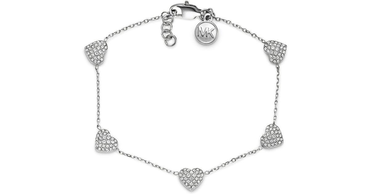 bdbbc92e794fa Lyst - Michael Kors Pave Heart Bracelet Silver Color in Metallic