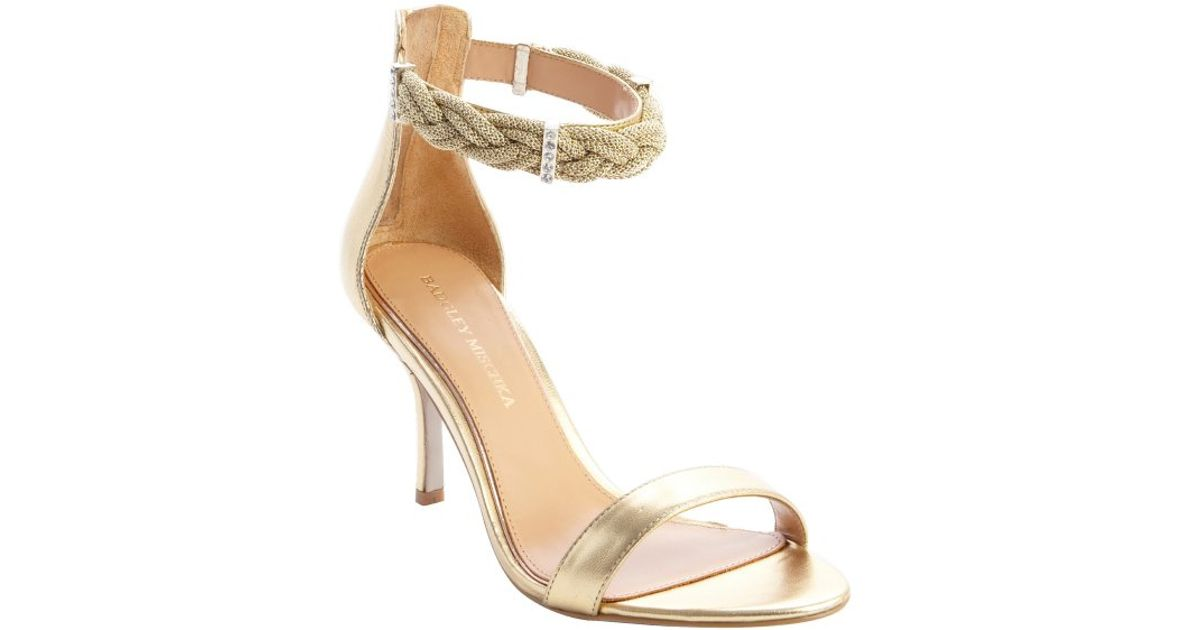 163e6bf5abc Lyst - Badgley Mischka Gold Leather Rope And Crystal Detail Heel Sandals in  Metallic