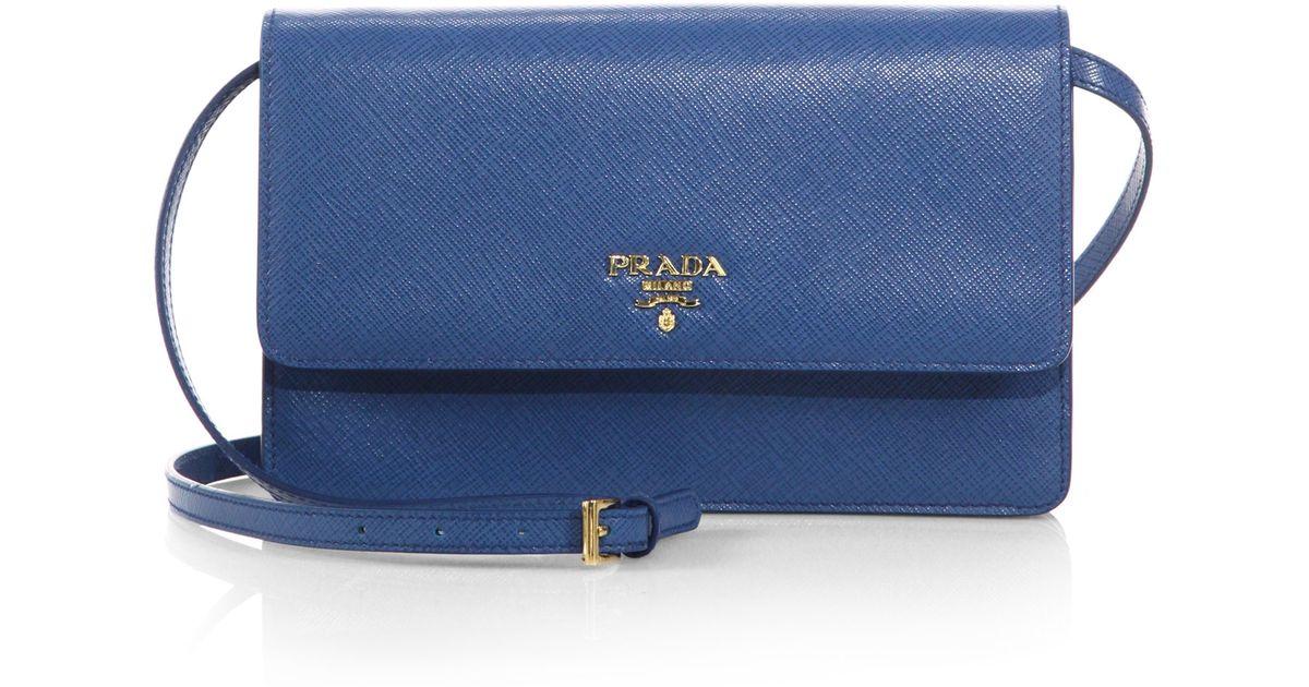 4af77ea9c96684 Prada Saffiano Lux Crossbody Bag in Blue - Lyst