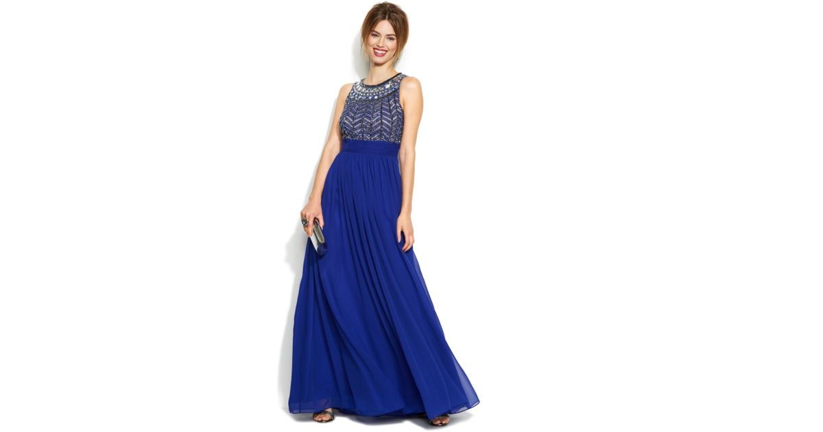 9aa90b818e Lyst - JS Collections Sleeveless Beaded Empire-Waist Gown in Blue