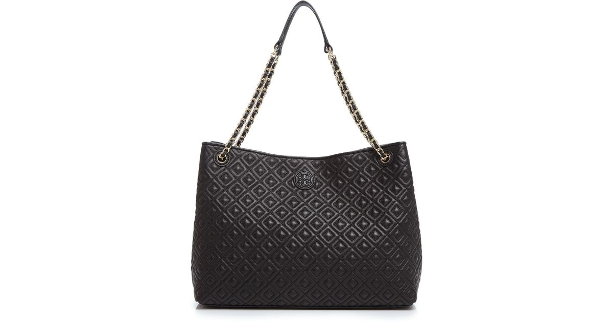 20375a5182b Lyst - Tory Burch Marion Quilted Leather Tote in Black