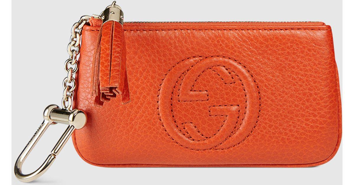 Lyst - Gucci Soho Leather Key Case in Orange 98b1b1607