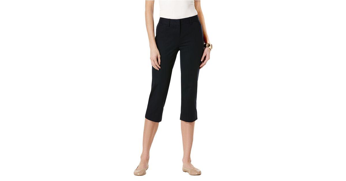 Rafaella Petite Solid Double Weave Curvy Capri Pants in Blue | Lyst