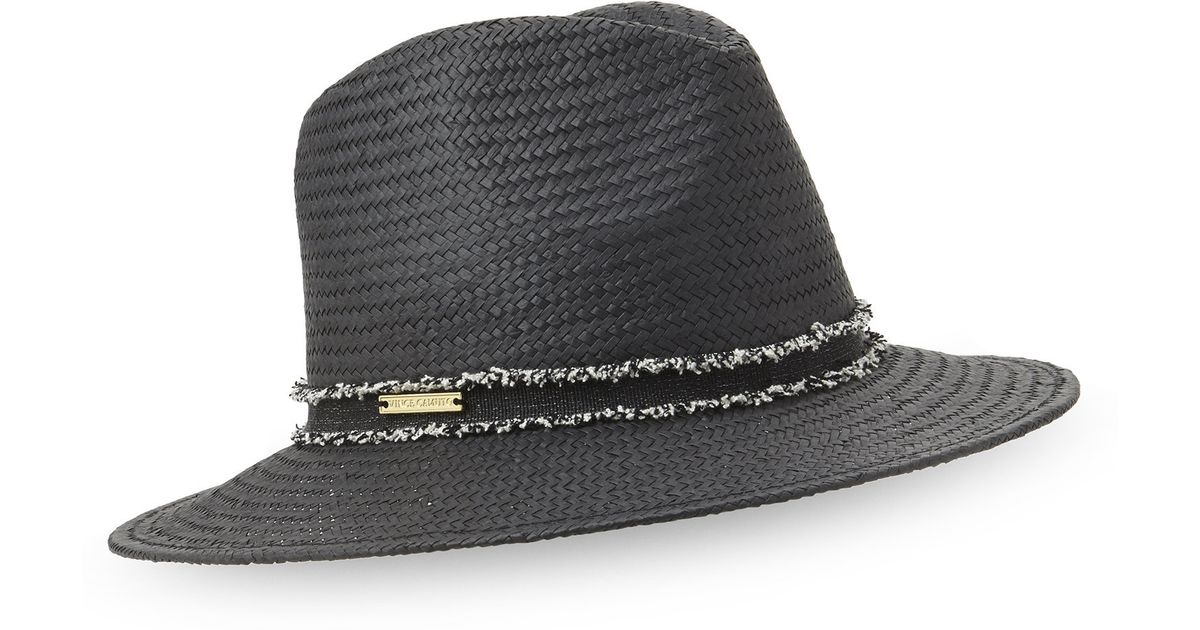6dd1c850 Vince Camuto Frayed Band Panama Hat in Black - Lyst