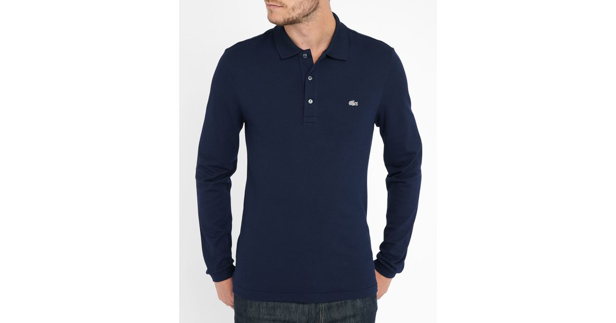 lacoste navy elastane long sleeve slim fit polo shirt in. Black Bedroom Furniture Sets. Home Design Ideas