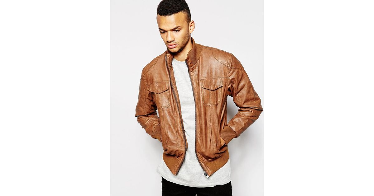 Barneys originals Barneys Faux Leather Bomber Jacket in Brown for ...