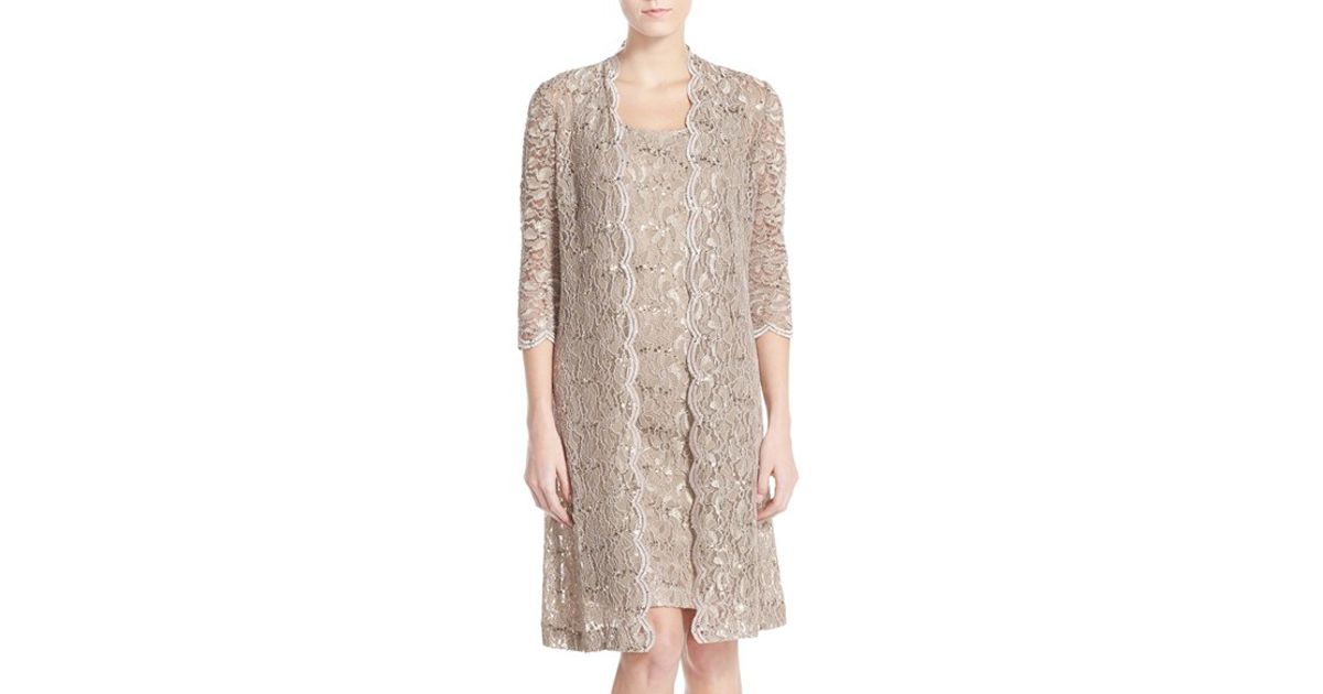 85951cb3 Alex Evenings Sequin Lace Sheath Dress With Jacket in Metallic - Lyst