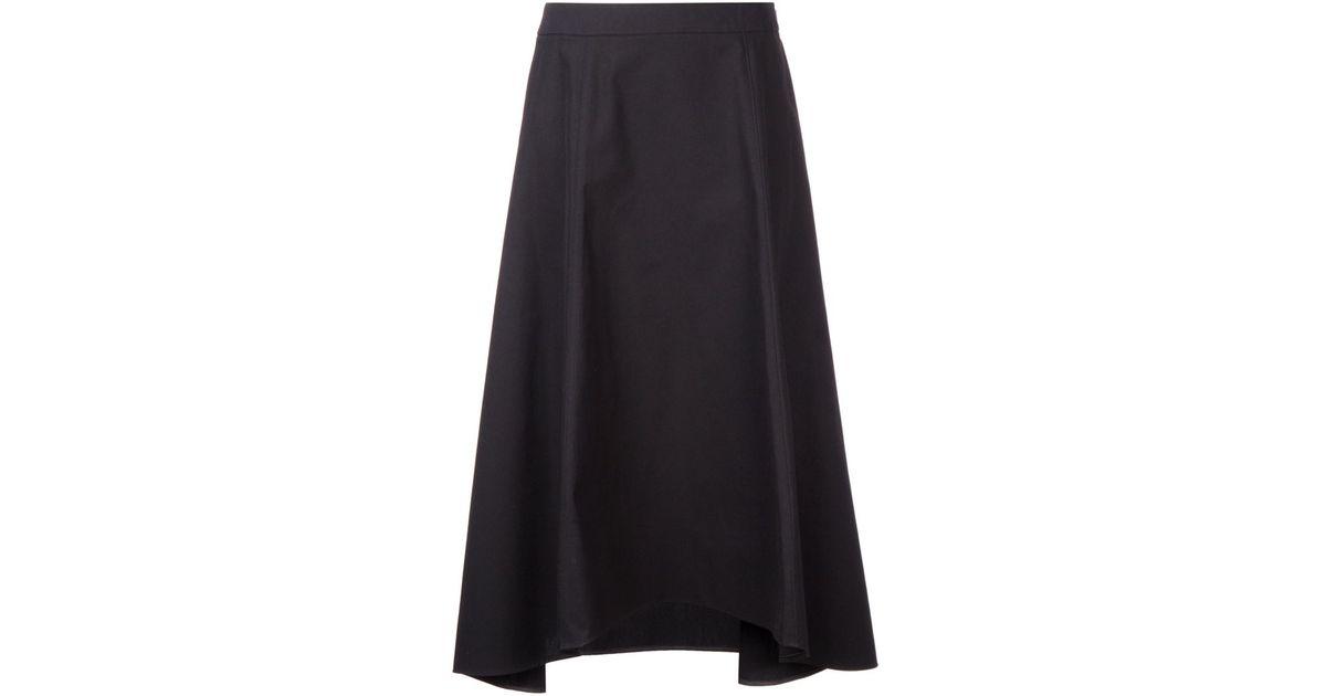 astraet asymmetric midi skirt in black lyst