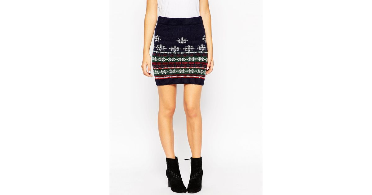 Lyst - Asos Co-ord Knitted Skirt In Christmas Fair Isle in Blue