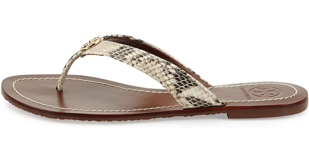 1c97fb47bcaa8 Lyst - Tory Burch Thora Snake-Print Sandals in Metallic