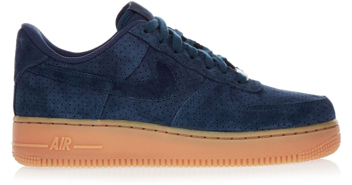 new style 73a2a 6a075 Nike Air Force 1 07 Suede Sneakers in Blue - Lyst