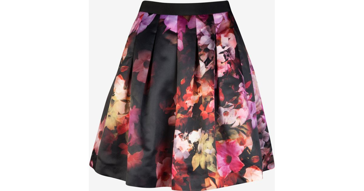 d93a6c828 Ted Baker Cascading Floral Pleated Full Skirt in Black - Lyst