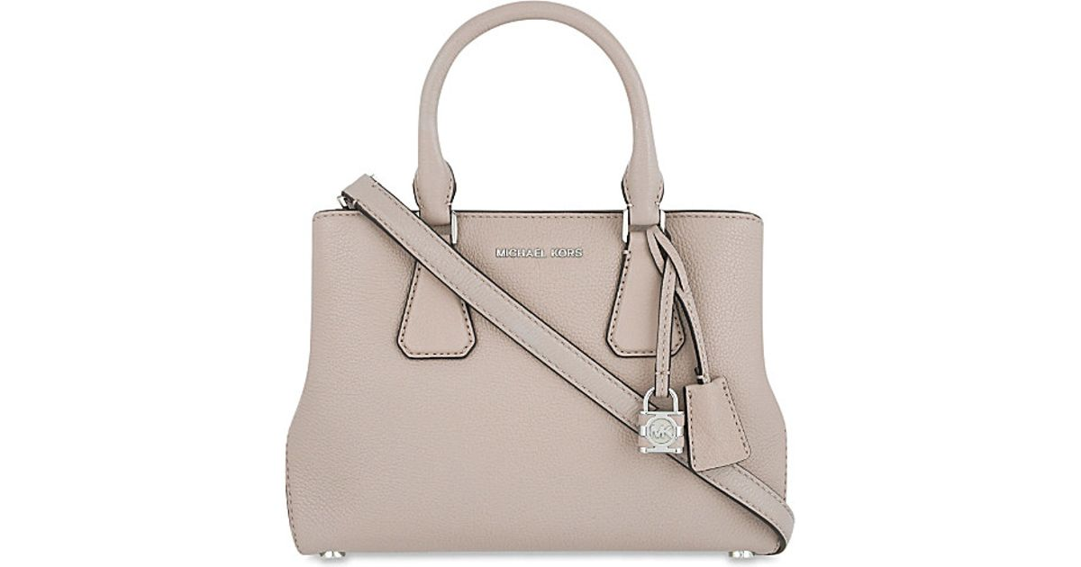 01a98a033805d Lyst - MICHAEL Michael Kors Camille Small Leather Satchel in Natural