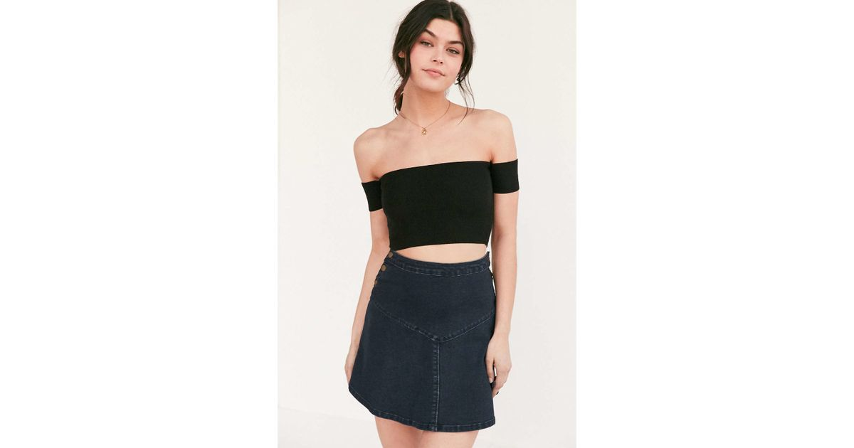 90ece00a4a Lyst - Silence + Noise Lola Off-the-shoulder Cropped Top in Black
