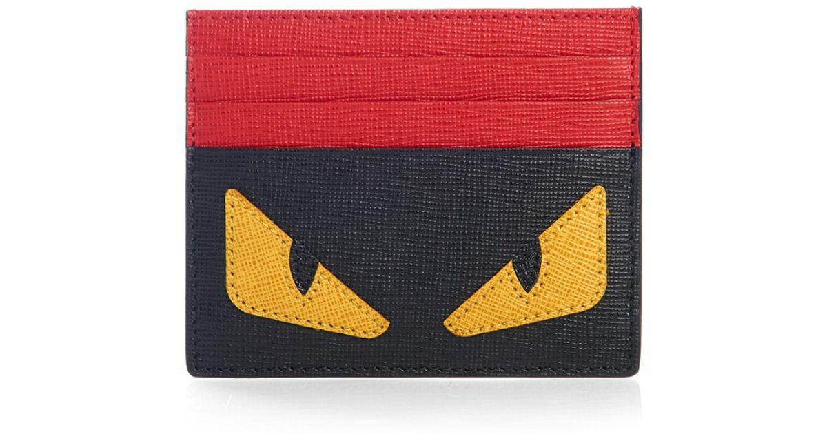 ef7bb9a5d7e Lyst - Fendi Bag Bugs Leather Cardholder in Black for Men