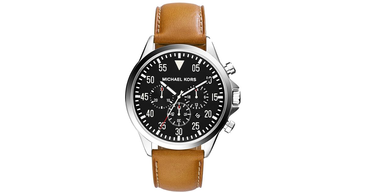 f03f02f93440 Lyst - Michael Kors Gage Leather Strap Silver-tone Stainless Steel Watch in  Metallic for Men