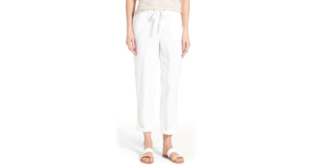 Caslon Linen Tie Front Crop Pants In White Lyst