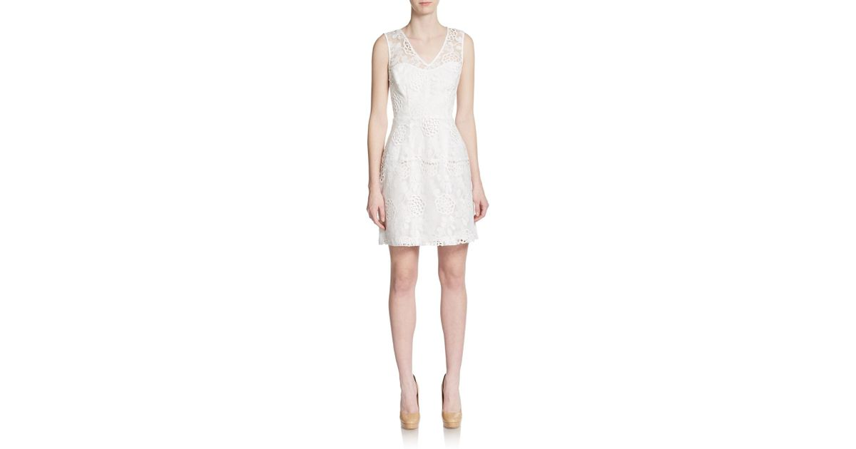 04547330f1b Lyst - Betsey Johnson Floral Eyelet Overlay Dress in White