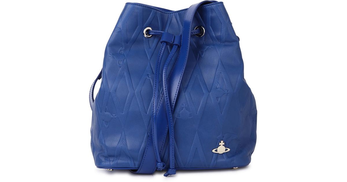 347f5a2f424 Vivienne Westwood Blue Embossed Leather Bucket Bag in Blue - Lyst