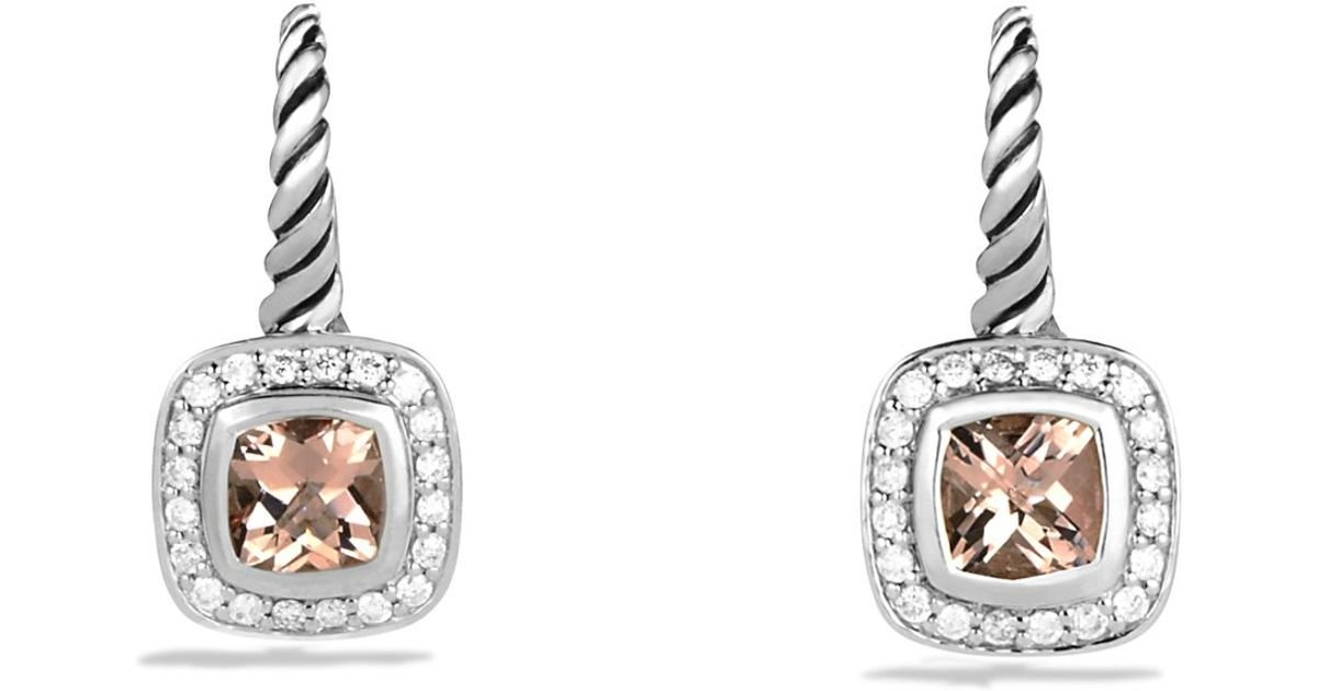 Lyst David Yurman Albion Drop Earrings With Morganite And Diamonds In Metallic