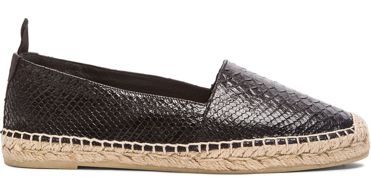 3842417ce Saint Laurent Python Embossed Leather Espadrilles in Black - Lyst