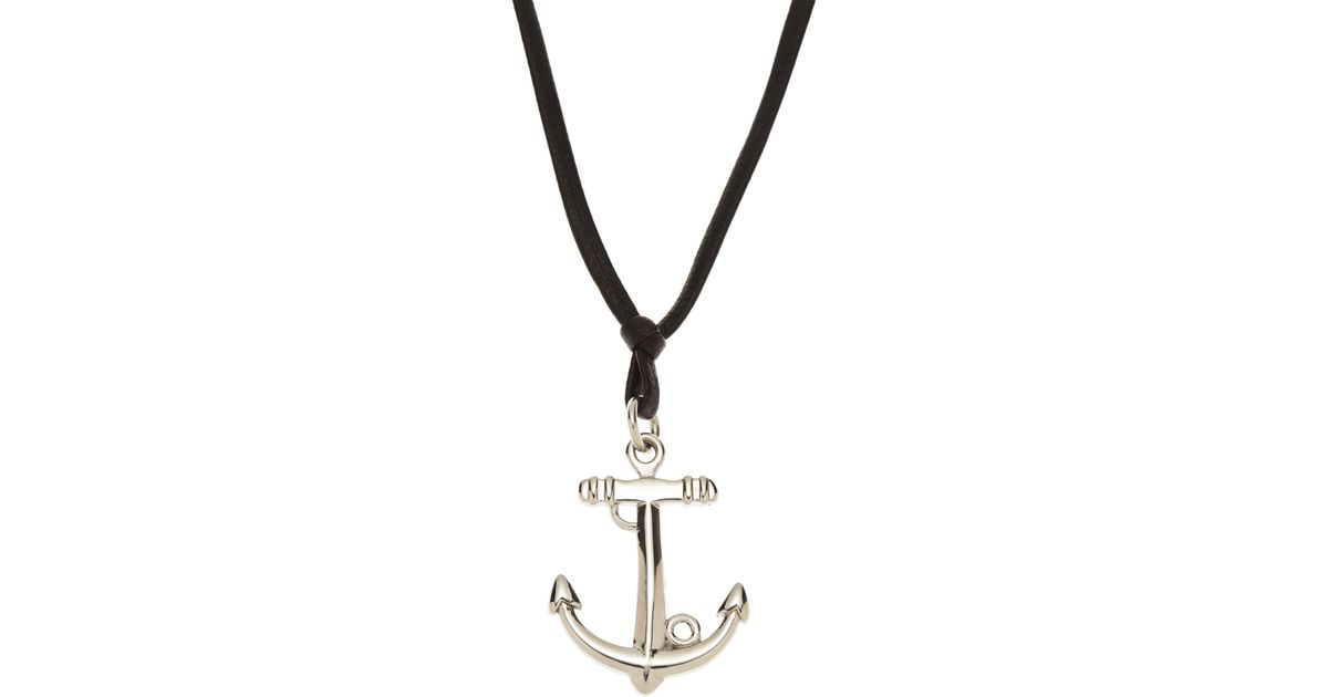 Lyst blackjack anchor pendant necklace in metallic for men aloadofball Image collections