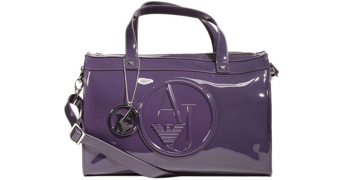 48631d410b8b Lyst - Giorgio Armani Handbag Trunk Bag Patent Leather 31X25X16 Cm in Purple