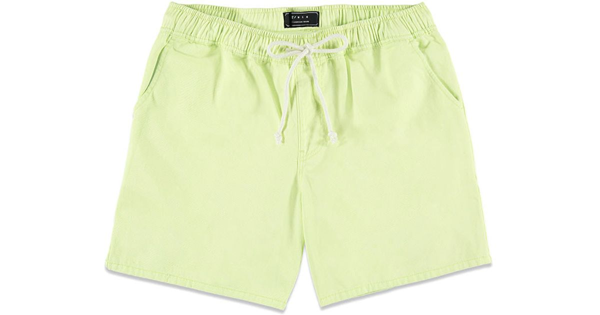 Forever 21 Cotton Twill Drawstring Shorts in Green for Men   Lyst