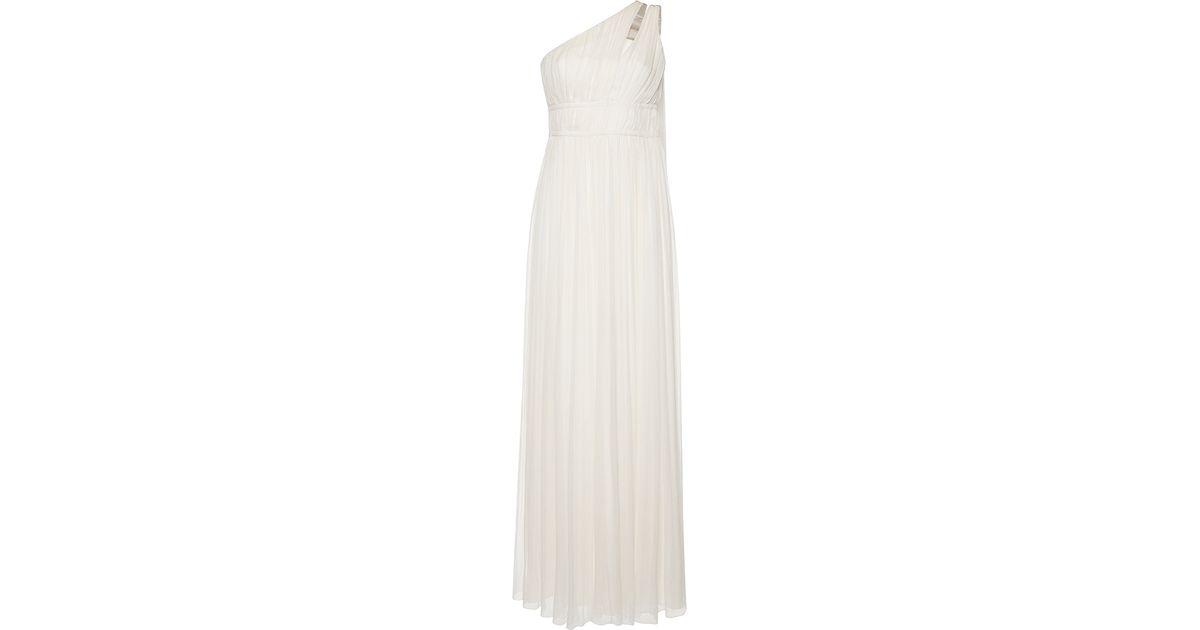 1e28fa7ccce Alberta Ferretti Ruched Chiffon Creponne One Shoulder Gown in White - Lyst