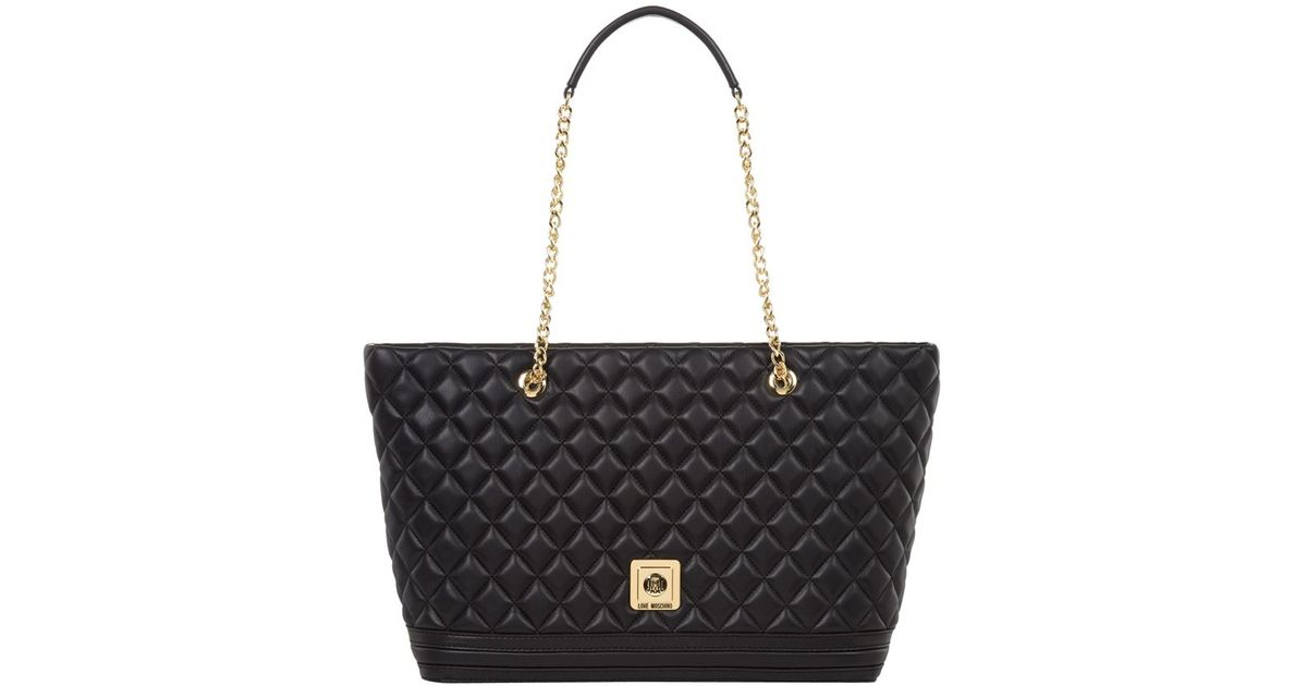 love moschino large quilted shopper bag in black lyst. Black Bedroom Furniture Sets. Home Design Ideas