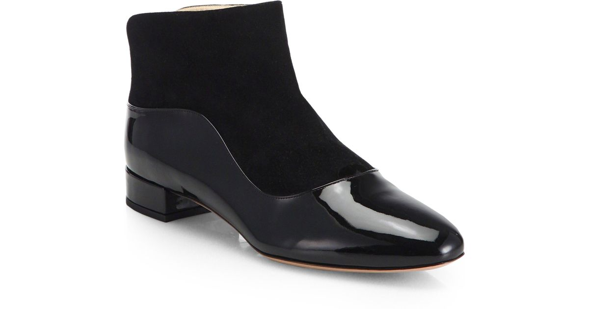 Giorgio armani Suede &amp Patent Leather Flat Ankle Boots in Black | Lyst